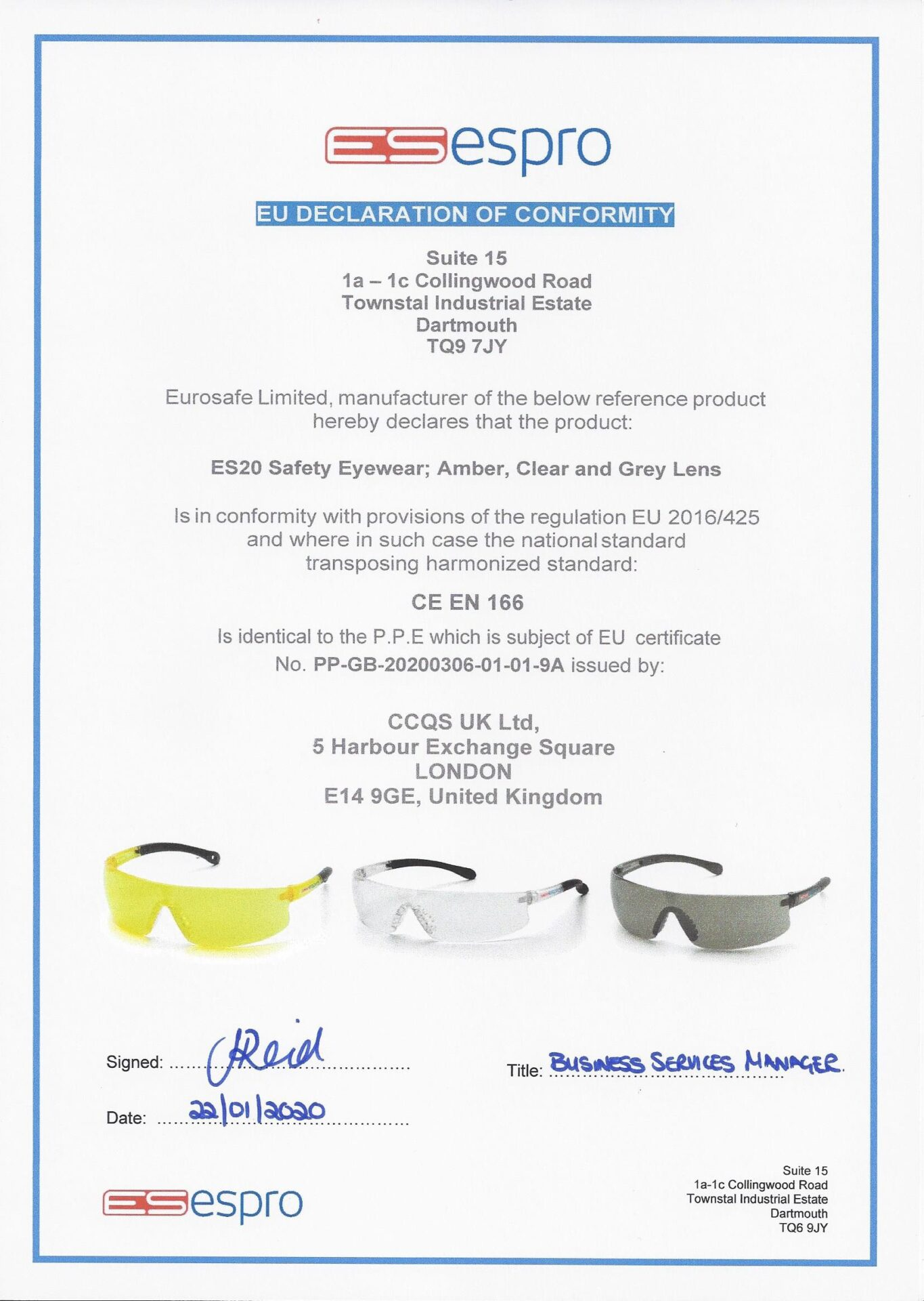 ES30 - Safety Eyewear, Clear & Grey Lens